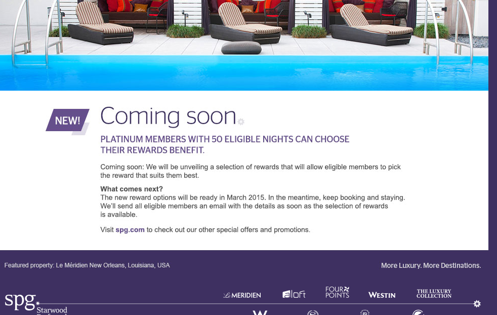 SPG Platinum - Choose Reward Benefit in 2015