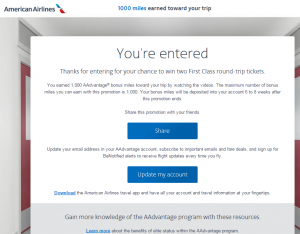 You Earned 1000 AAdvantage Bonus Miles
