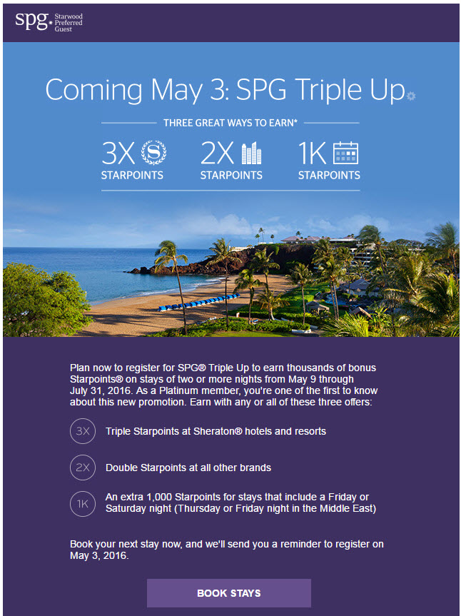2016 SPG Triple Up Promotion Coming Soon