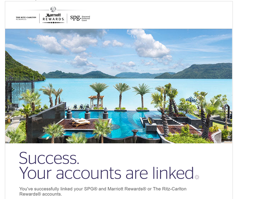 Successfully linked SPG and Marriott Rewards Accounts